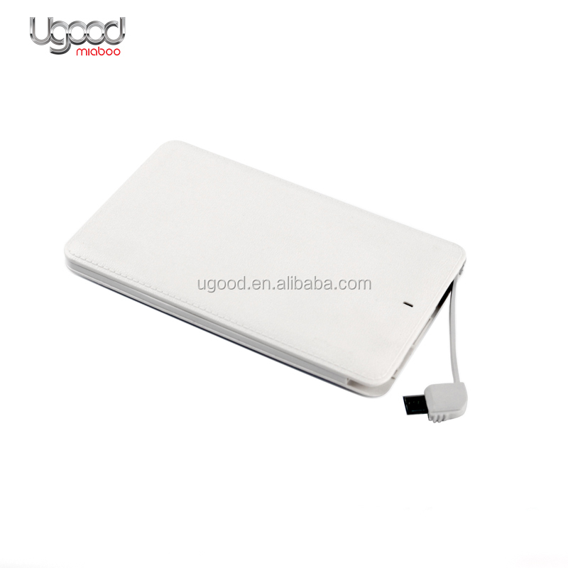 Hotsale Imitation leather Li-Ion battery pack Power Bank 4000Mah For Customized Gifts