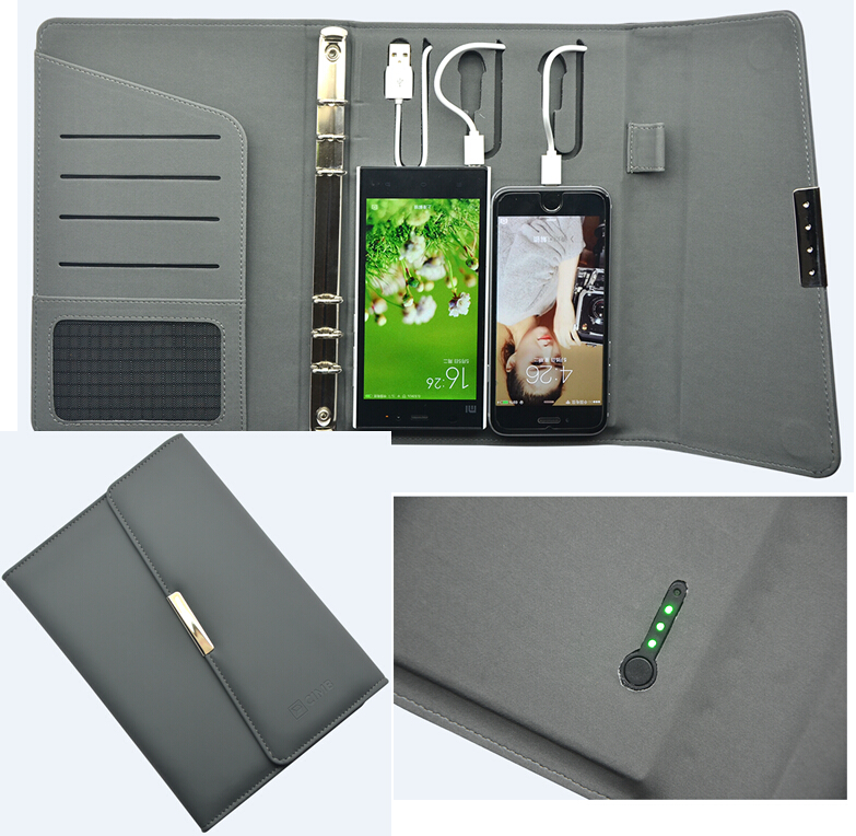 2017 PU Leather power bank notebook/leather note <strong>book</strong> with power bank inside