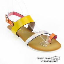 2015 high quality best price TPR outsole PU upper various colors matching slingback new designs flat sandals
