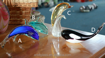 glass figurines glass dolphine glass whale for decoration