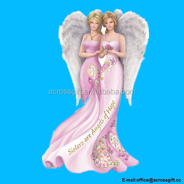 PolyresiBreast Cancer Awareness Figurine: Sisters are Angels Figurine