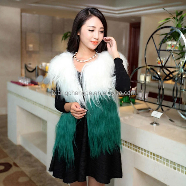 patchwork long hair goat fur vest fur gilet for women