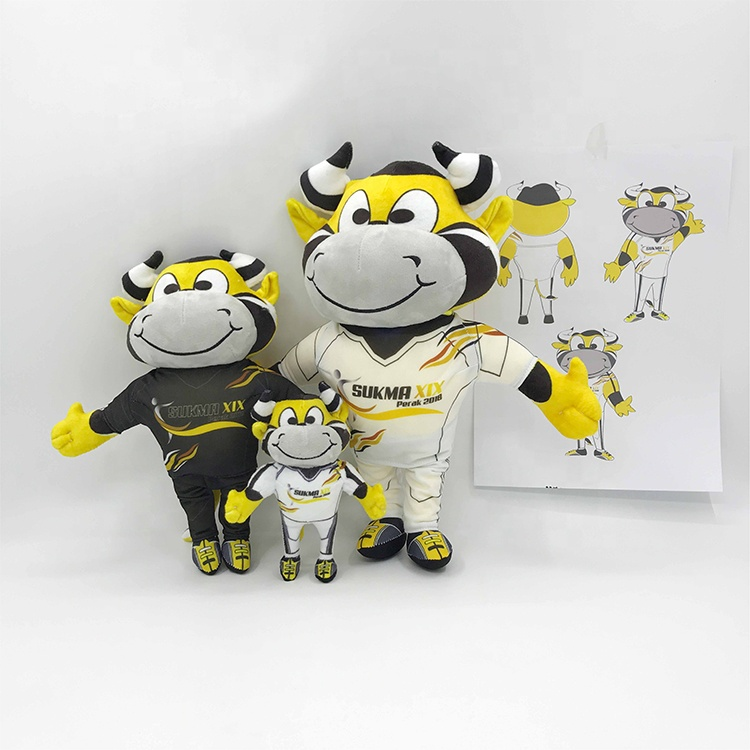 EN71 Passed china made cow bull kids stuffed soft animals toys custom plush