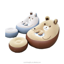 Chair plastic 2018 furniture living room luxury inflatable bear shape sofa sets with foot cushion neck pillow