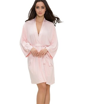 OEM Factory Low Price Hot Pink Women Sleep Organic Bamboo Jersey Knit Robes