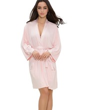 Wholesale Factory Low Price OEM Pink Women Pink Modal Bathrobe with Satin Neckline