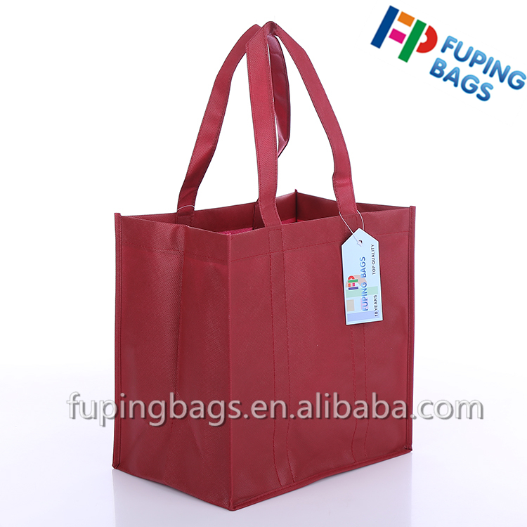 red reusable small pp non woven wine bag 6 bottle wine bag