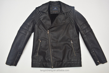 Latest Design PU093 Leather Welding Jacket For Man With Zipper Sleeve