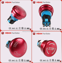 22mm metal latching contact push button lockout switch waterproof 16mm emergency off on mushroom stop push button switch