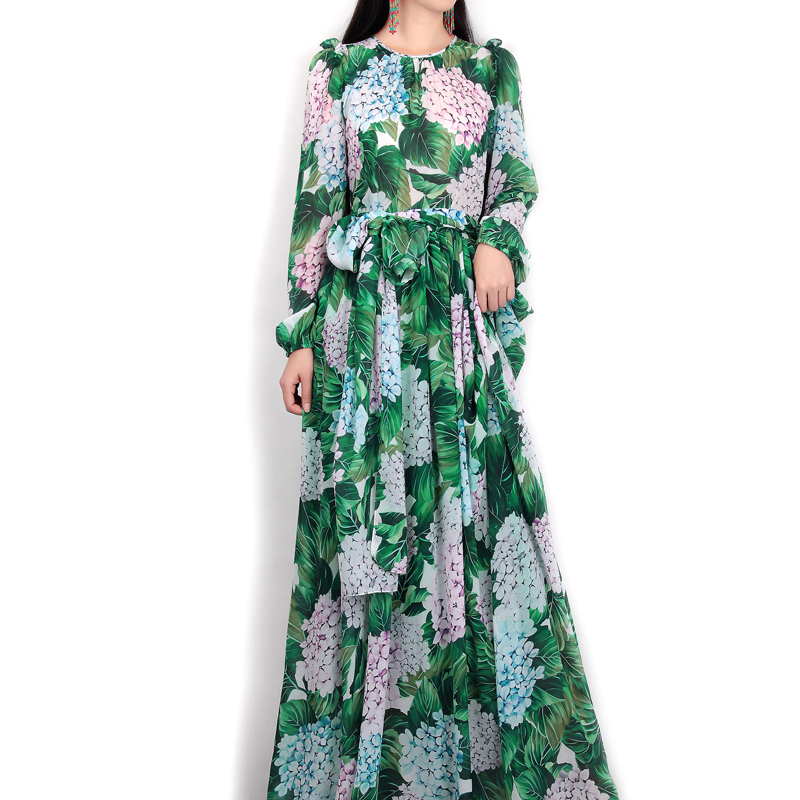 High-quality-new-spring-summer-2017-women-runway-maxi-dress-flowers-green-leaves-printing-Beach-Casual (1)