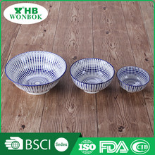 China factory direct wholesale blue printing antique ceramic cereal bowl