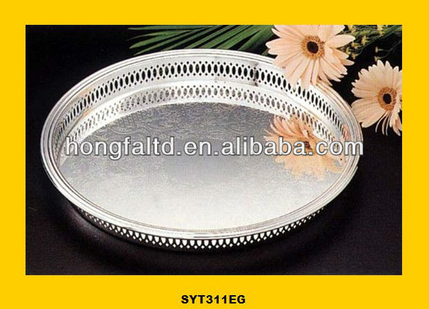 round galvanized metal tray with handle