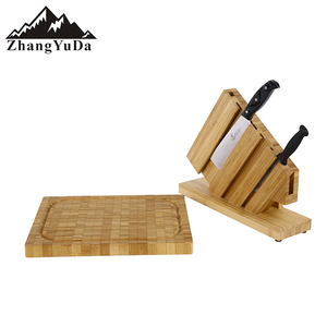 Bamboo cutting board set with bamboo knife holder