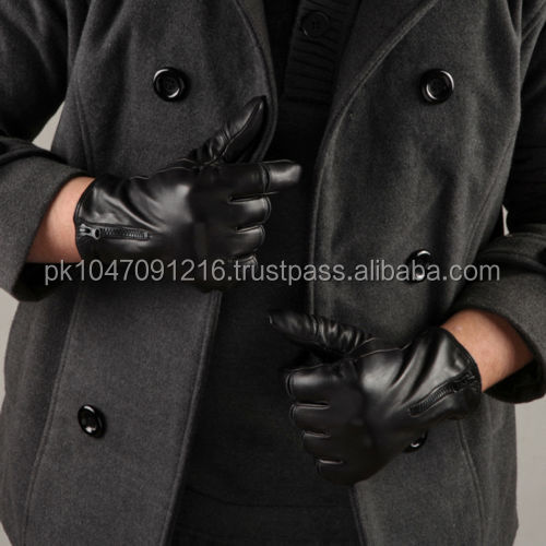 Fashion Men Italian nappa leather motorcycle driving winter warm gloves zipper