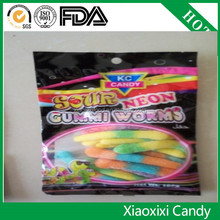 new promotional Gummmy candy of Gummy candy sour worms shaped gummy for healthy food