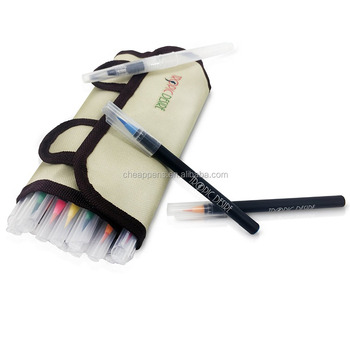 High quality 20 watercolors art brush marker with canvas case for art drawing OEM