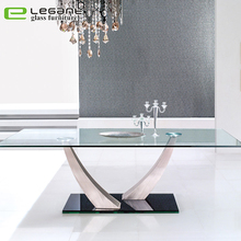 Modern luxury glass top dining table set