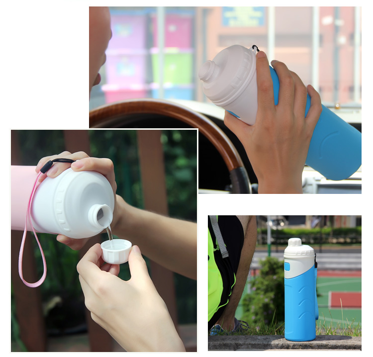 BPA-Free New Collapsible Silicone Water Bottle Thermos
