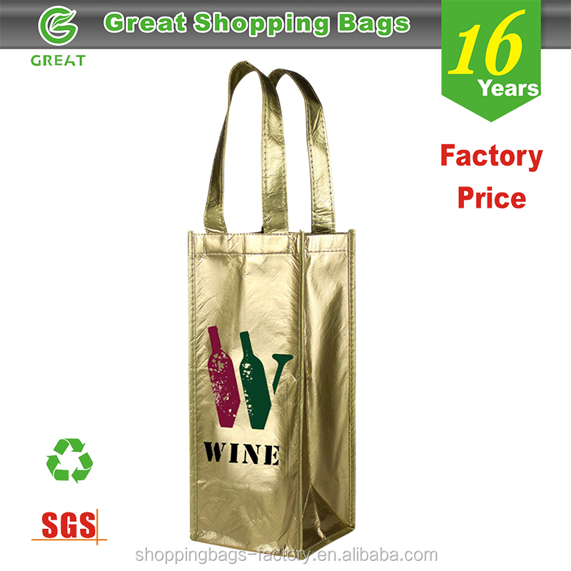 Laminated Divided Single Bottle Wine Tote Wholesale