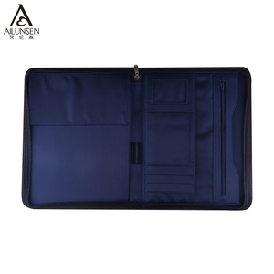 Stationery Product PU Leather Zippered Portfolio Case With A4 Writing Pad