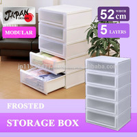Storage Case width 52cm semi wide cloth (Closet Living room) drawer case Japan design transparent plastic bag clear chest C5205