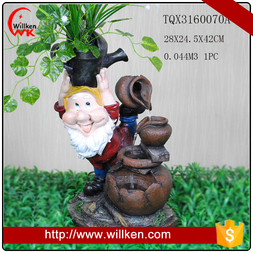 Resin Gnome small water fountain on hot sale for indoor decor