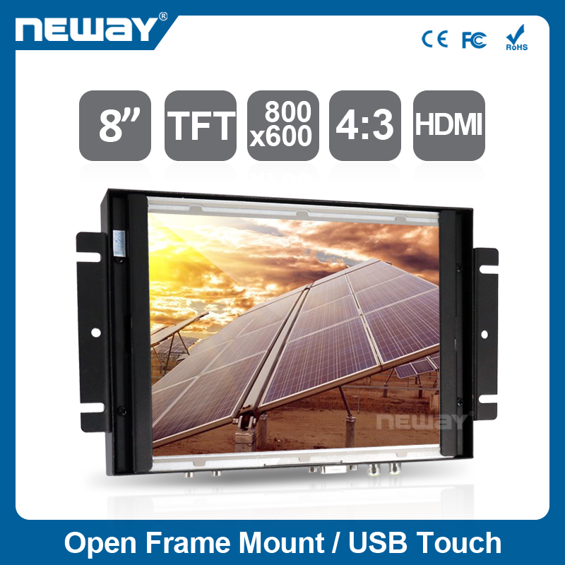"8"" metal housing LCD resistive touch panel with HD MI input"