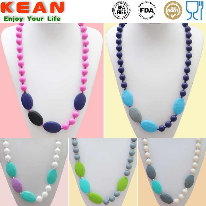 China manufacturing BPA free teething necklace silicone kids fashion jewelry