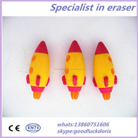 Wholesale Shaped Rubber Colorful Pencil Top 3d Rocket Eraser
