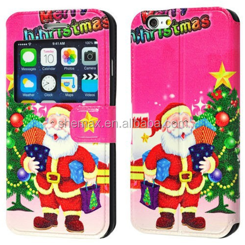 Christmas Printing Leather Case Cover &Caller ID Window for IPhone 6/ Plus