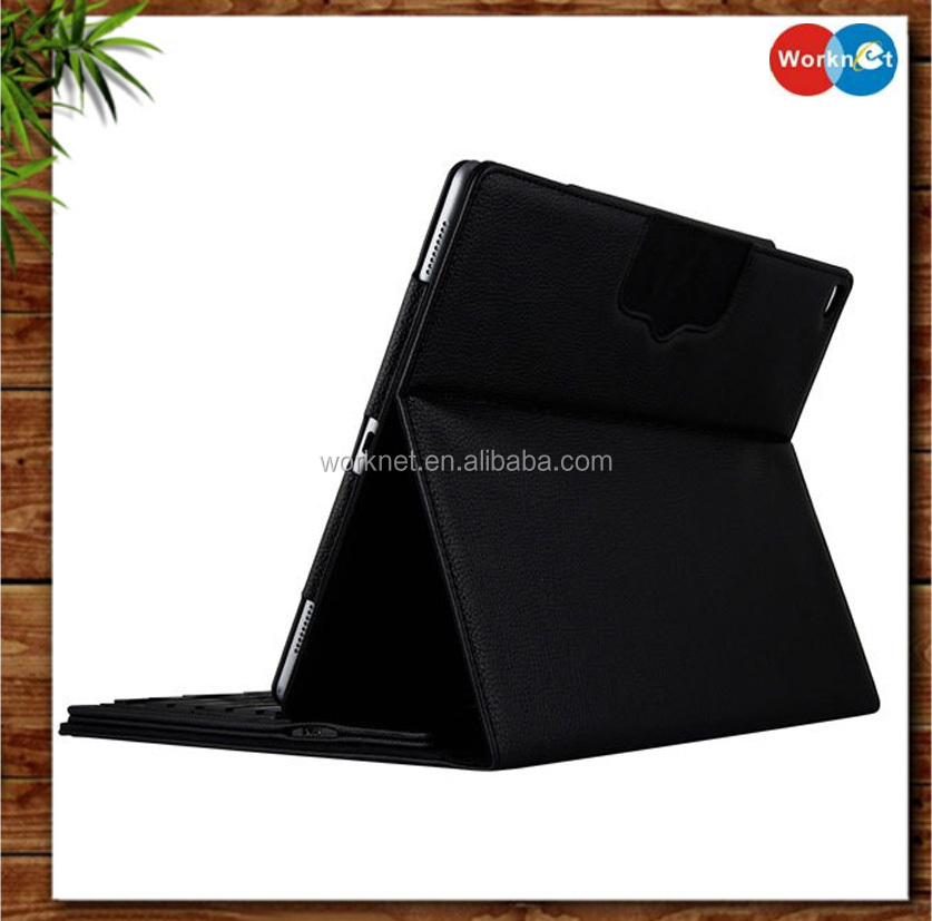 Worknet bluetooth keyboard PU leater tablet case for iPad Pro with stand function,leather keyboard case cover for iPad Pro 12.9""