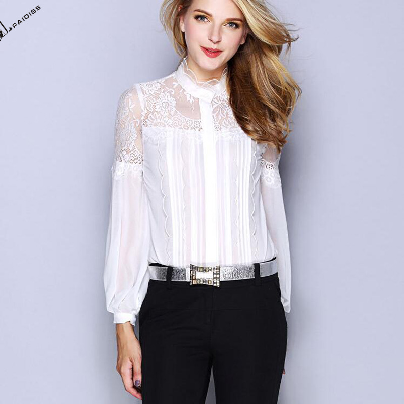 2017 Alibaba hot sale white elegant lady silk blouse for office designs