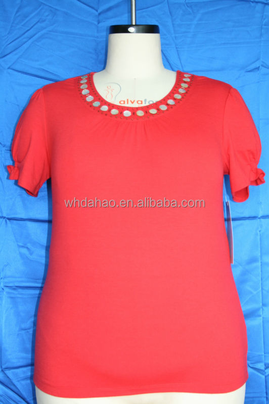 Fashion red color neck design of blouse women shirt model