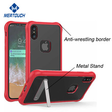 Metal Stand Rugged Strong Shockproof Arcylic TPU cover, For iPhone X Stand case
