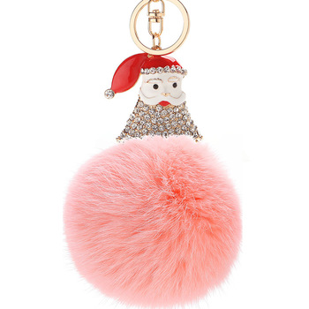 PO000229 WT Yiwu Creative Christmas Key chain Electroplated Alloy Keyring Pendant Santa-Diamond Hairball Pendant Plush Ball