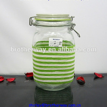 1600ml swing top glass storage decorative jar with metal clip lids