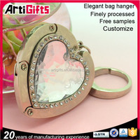 Heart shape crystal utility hook for bag accessory