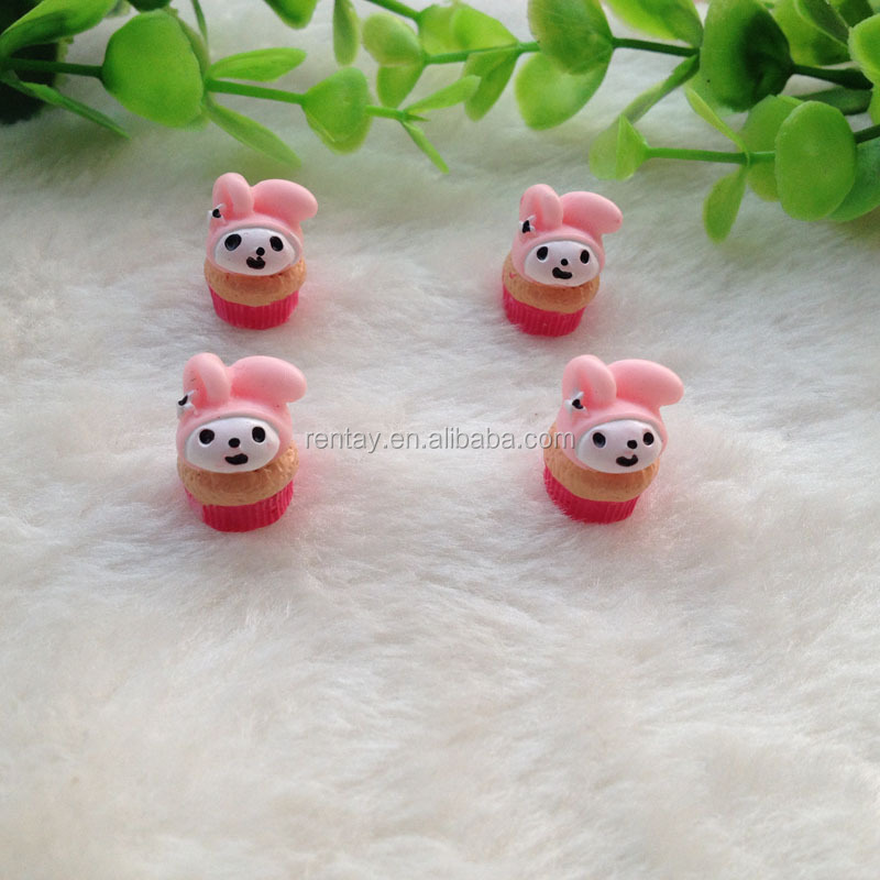 Good-Looking 12*15mm Hot Pink Rabbit Flat Back Food Cake Resin Kawaii Cabochons for Phone Case