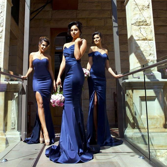 Navy Blue Bridesmaid Dresses 2018 Vestido Sweetheart Side Slit Long Evening Dresses Cheap Ladies Gown