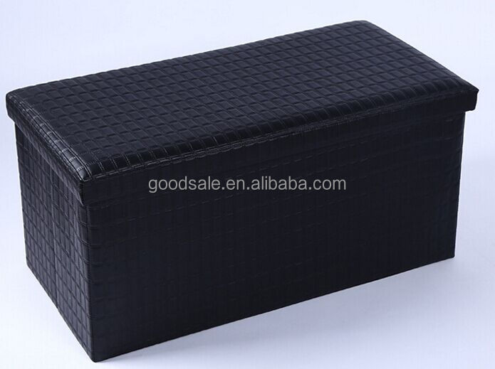 PVC leather Large Solid Color foldable storage ottoman with storage stool