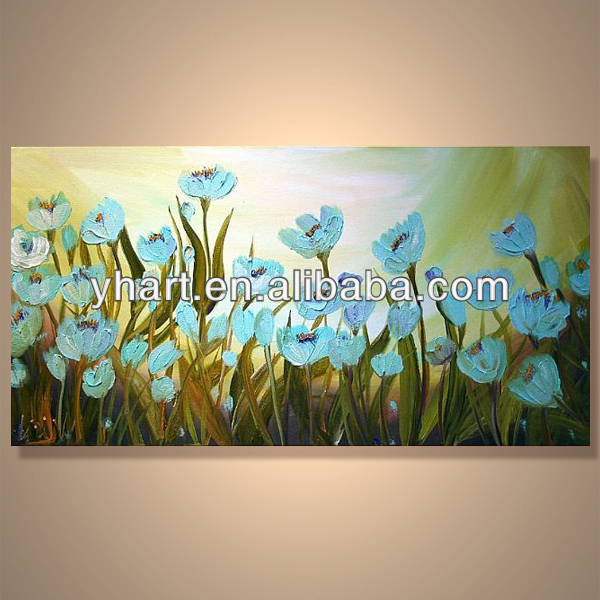 Modern Popular Decorative Framed Canvas Flower Painting