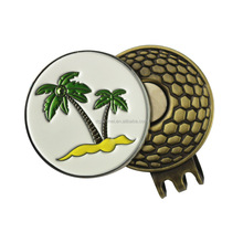 Golf club personalized with enamel ball marker