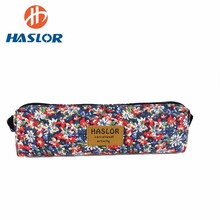 Promotion Personized kids 12 oz canvas pencil case flowers printing