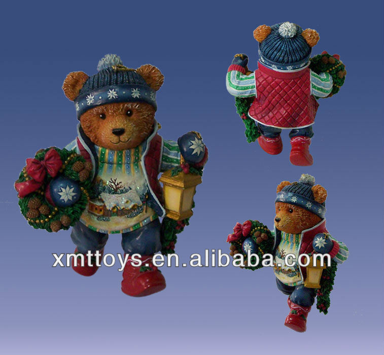 resin personalized bear statue made of clay for desktop decor