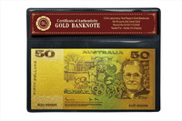 Most popular product Colorful Old Australian 50 Dollar gold bank note, 24k Gold Plated Banknote With PVC Frame