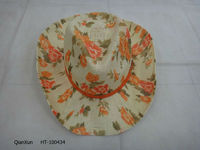 Flower drinking straw hat straw boater hats cheap cowboy straw hat