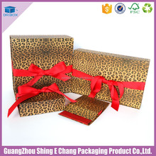 Coated Art paper and Gray board box leopard bra packaging for large folding gift box