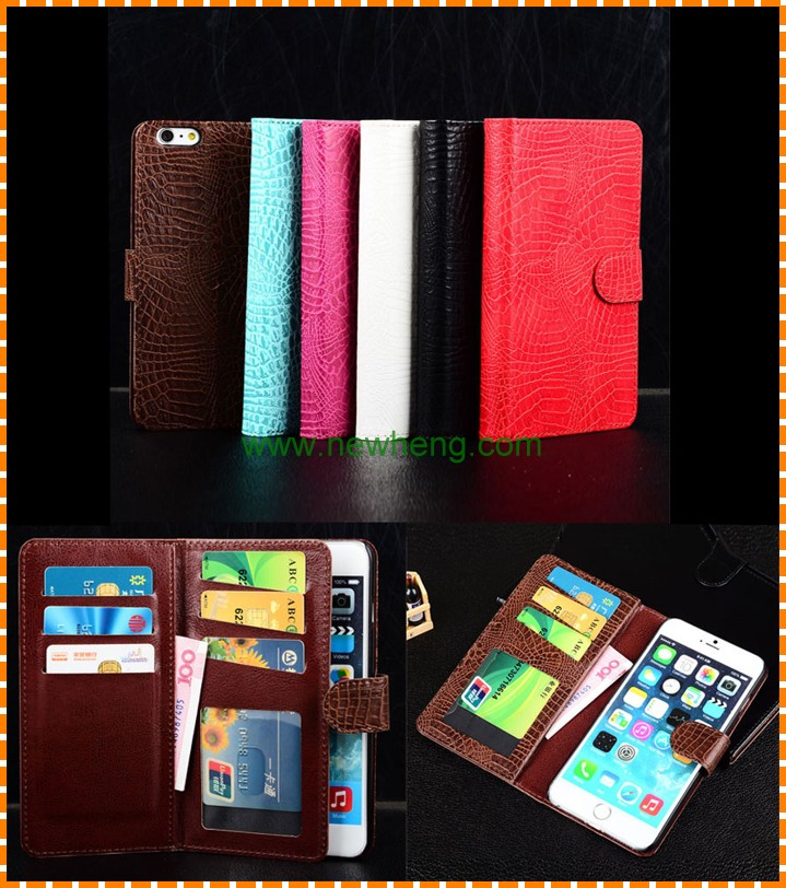 Crocodile Grain Leather Phone Case, multi-card slot Flip Wallet Phone Hull For iPhone 6 6 plus