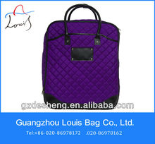 Fashion quilting wheeled trolley bags with compartments