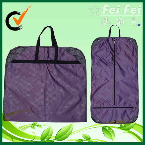 Purple nylon hanging garment bag with pockets